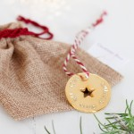 Gold Personalised Christmas Decoration with bag