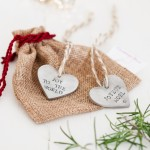 Silver Personalised Heart Christmas Decoration with bag