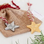 Gold Personalised Star Christmas Decoration with bag