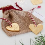 Gold Personalised Heart Christmas Decoration with bag