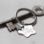 Silver star personalised keyring