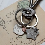 Personalised silver charm keyring