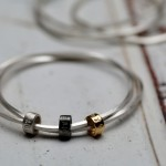 Personalised silver bead bangle