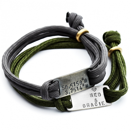 Personalised Maxi Plate Paracord Bracelet Chambers Beau